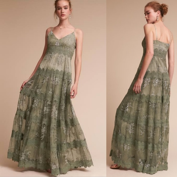 BHLDN Dresses & Skirts - Anthropologie BHLDN Joni Sage Formal Silk Dress